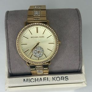 Michael Kors gold-tone crystal bezel women's watch